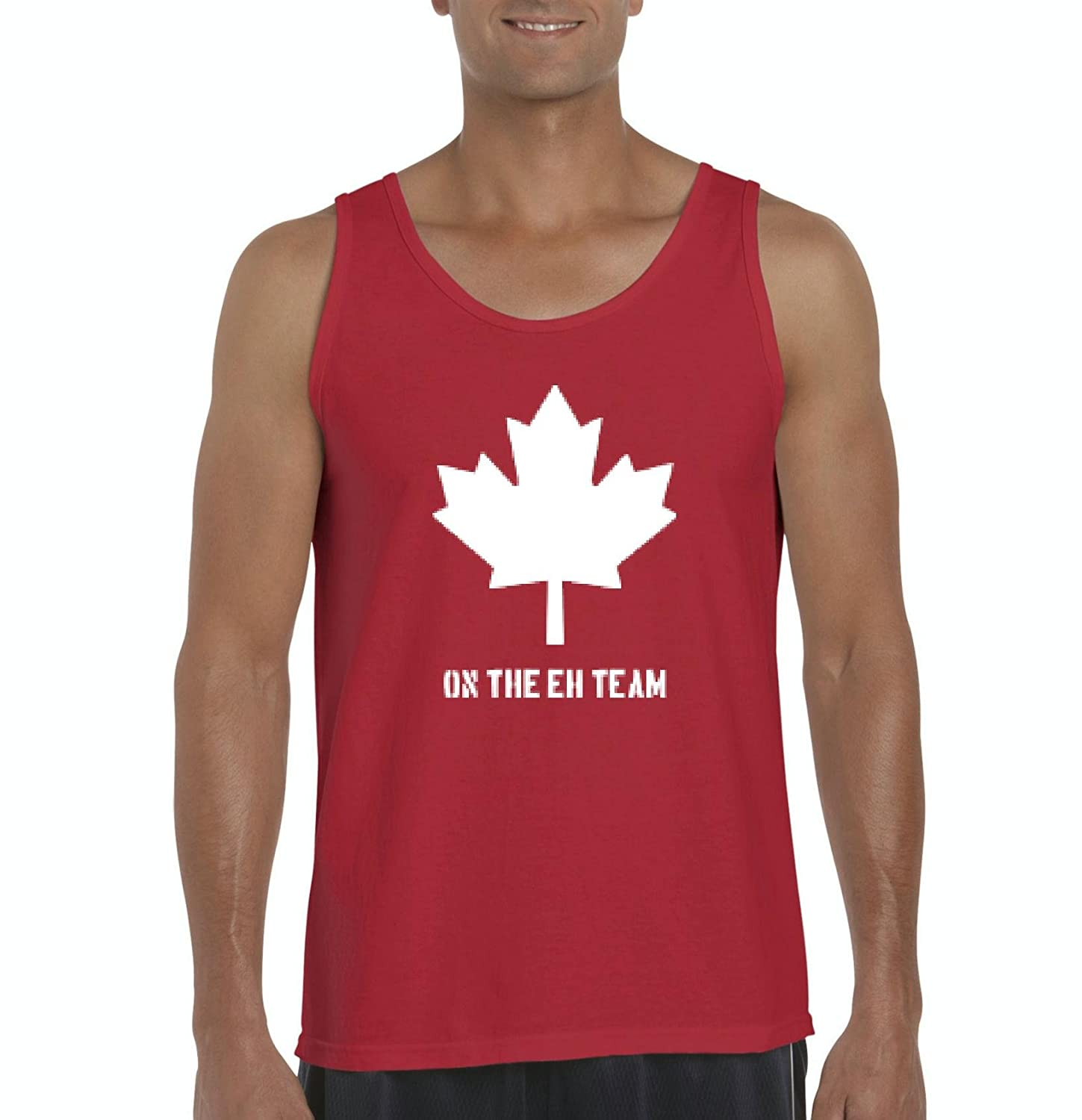 e088aa202e5034 Amazon.com  Ugo On the EH Team in White Canada Maple Canadian Vancouver  Tour Map Flag Gift Men s Tank Top  Clothing