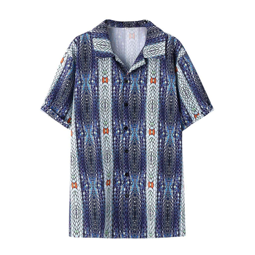 Forwelly Mens Shirt Ethnic Printed Short Sleeve Colorful Stripe Turn-Down Fashion Summer Tops