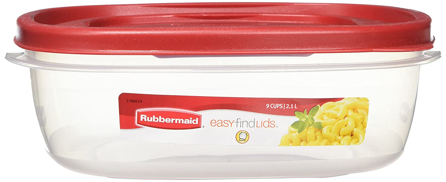 Rubbermaid 7J71 Easy Find Lid Square 9-Cup Food Storage Container and Lid (Pack of 4)