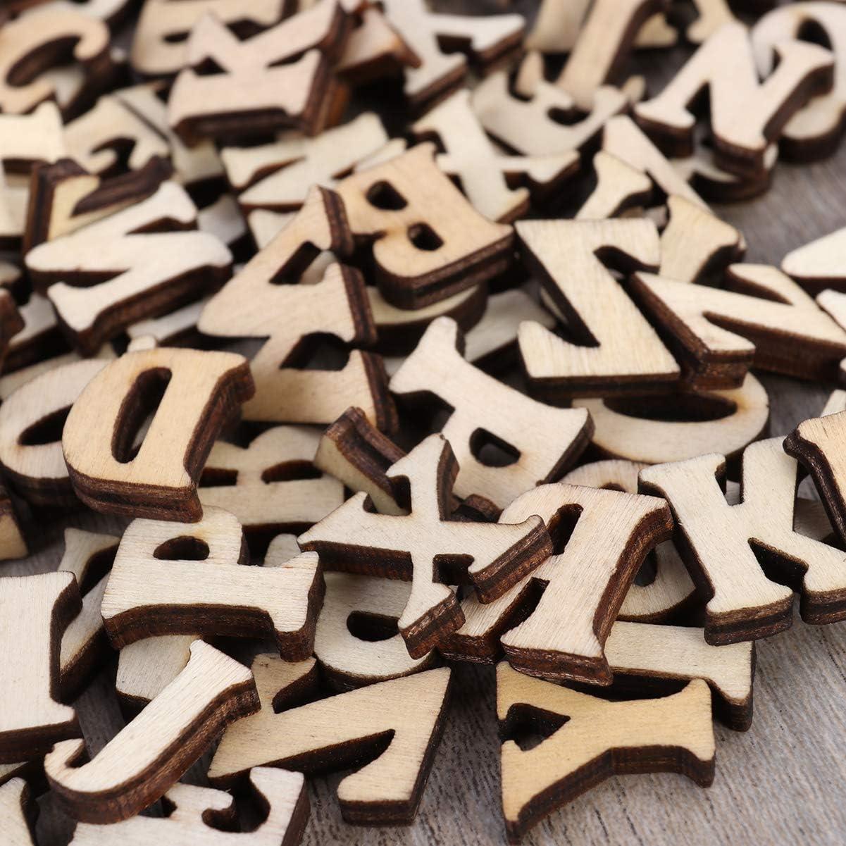 Artibetter 100 Pz Lettere in Legno Alfabeto in Legno Intagliato ABC Puzzle Educativo Giocattolo per Progetti Fai da Te Artigianato Scrapbooking Decorazione Domestica Senza Foro