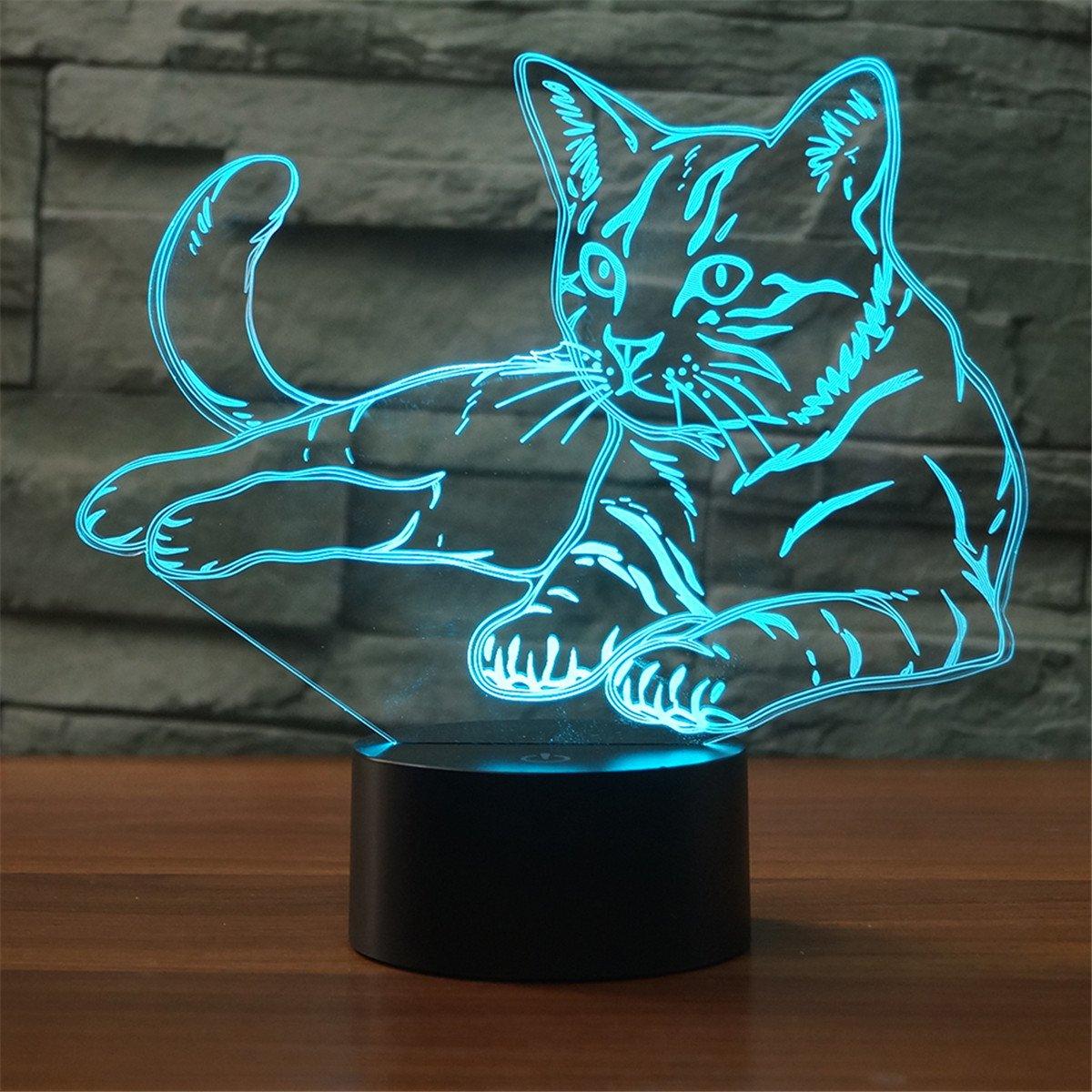 Schöne Katze 3D Nachtlicht Touch Switch LED Tier 3D Lampe 7 Farben USB 3D Illusion Schreibtischlampe Wohnkultur für Kinder Spielzeug Geschenk 1 8201