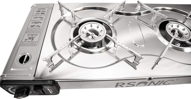 RSonic - Hornillo de gas doble portátil, de acero inoxidable, para exteriores, de dos llamas, para camping, para camping 2 x 2,3 kW.