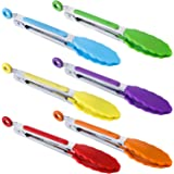 "BIGSUNNY 7"" Mini Silicone Serving Tongs Set of 6 (purple red orange green yellow blue)"
