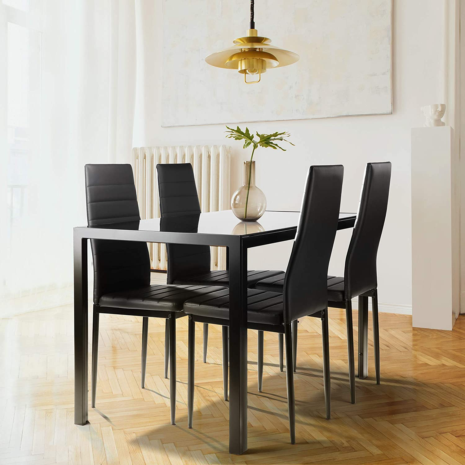 N Kitchen Room Tempered Glass Dining Table With 4 Pu Leather Chairs For Small Spaces Home Furniture Rectangular Black A 5 Pieces Dining Table Set Table Chair Sets Kitchen Dining