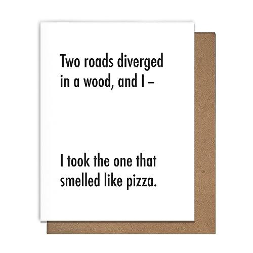 Amazon pizza two roads diverge funny letterpress greeting card pizza two roads diverge funny letterpress greeting card sarcastic snarky witty m4hsunfo