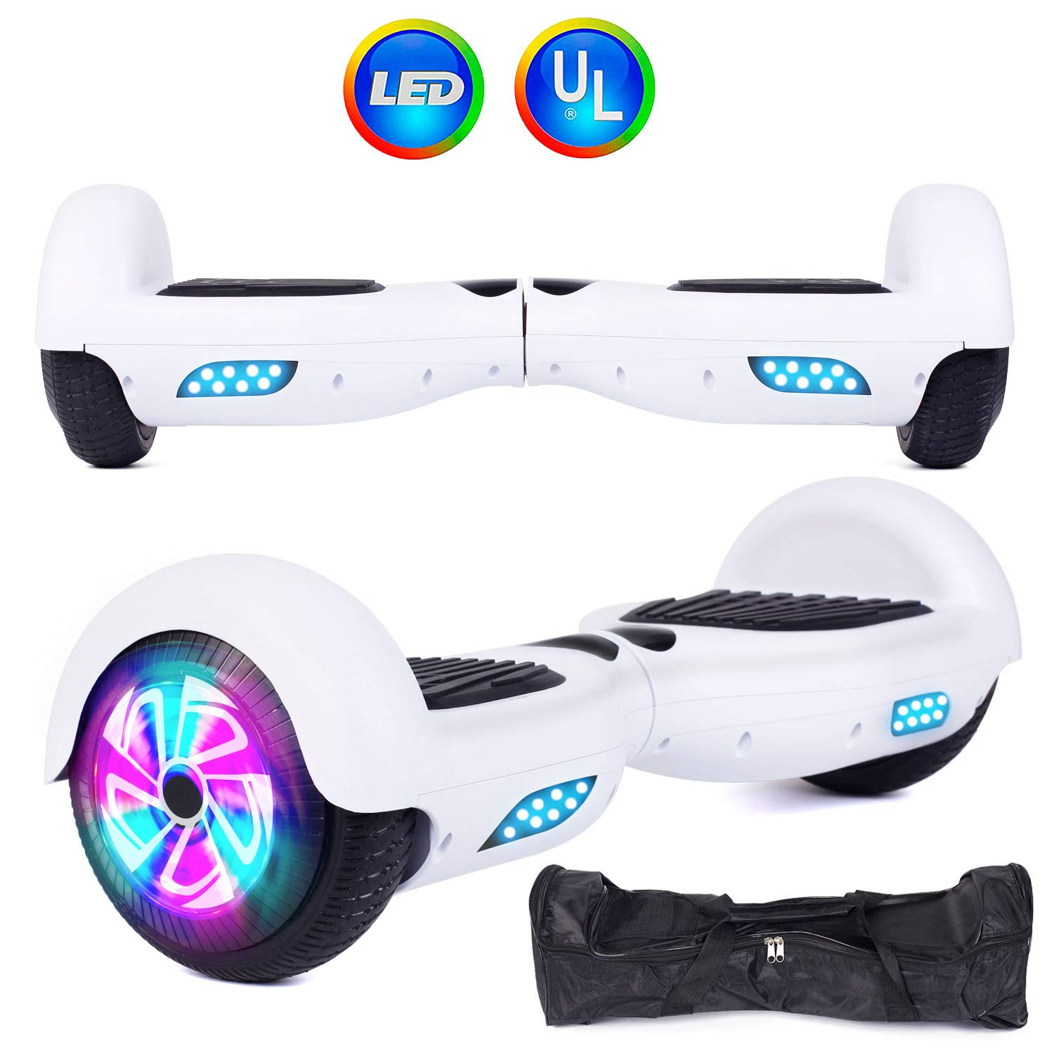Felimoda Self Balancing Hoverboards with LED Light and Carrying Case,6.5 Inch Two Wheel Smart Electric Scooter for Kids and Adults-UL2272 Certified (White)