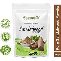 Elemensis Naturals Pure & Natural Organic Sandalwood Powder for Face Masks, Facials and Skin Care - 100 gm