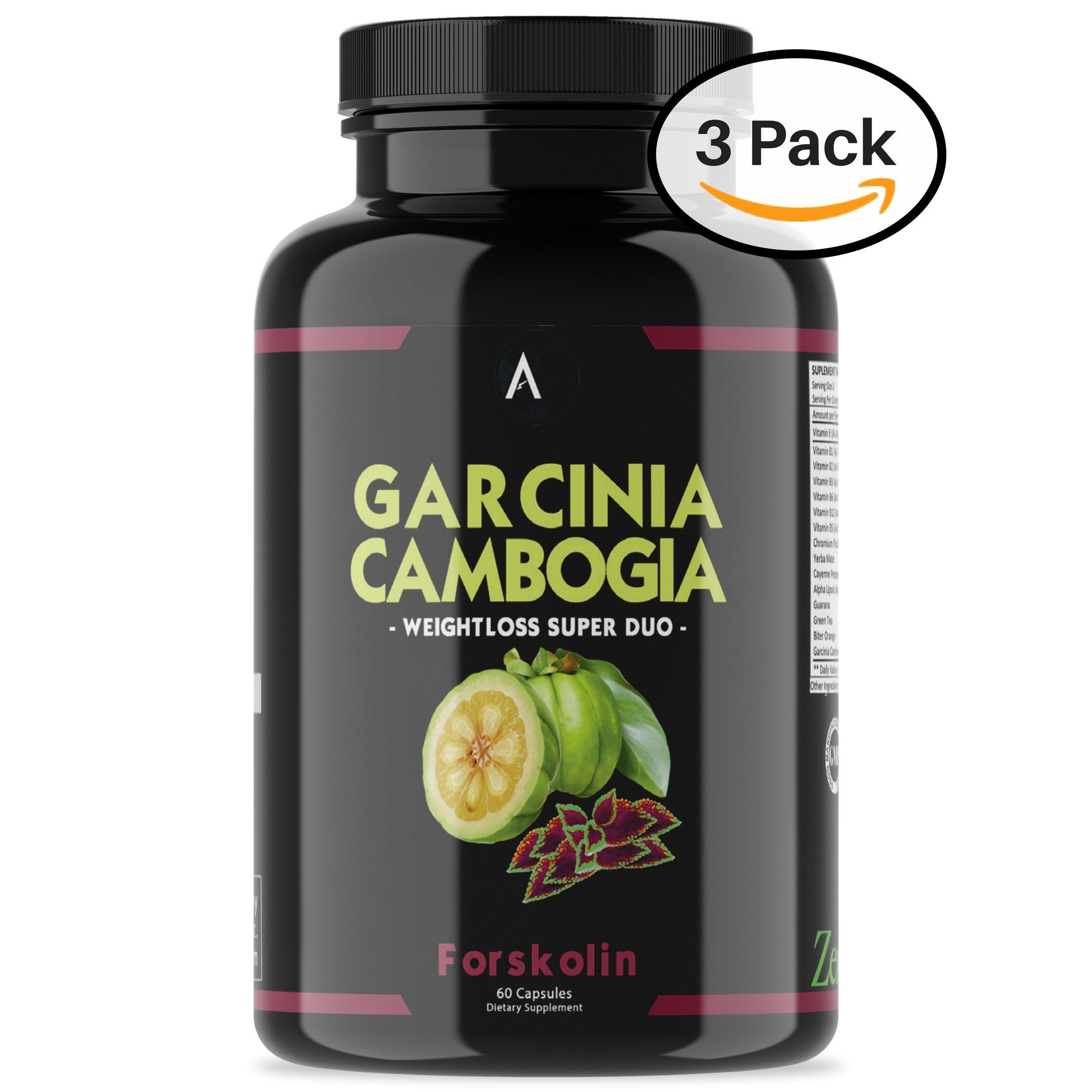 Angry Supplements Garcinia Cambogia with Forskolin Pill, Super Weightloss Booster, Premium All-Natural Detox for Fat Burning - Pure Extract in Capsule Form for Complete Diet, Active Health (3-Pack)