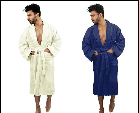 Aritradersltd Unisex 100 Egyptian Cotton Shawl Collar Bathrobe Men Women Terry Towel Gown Dressing Bath Robe Amazon Co Uk Clothing