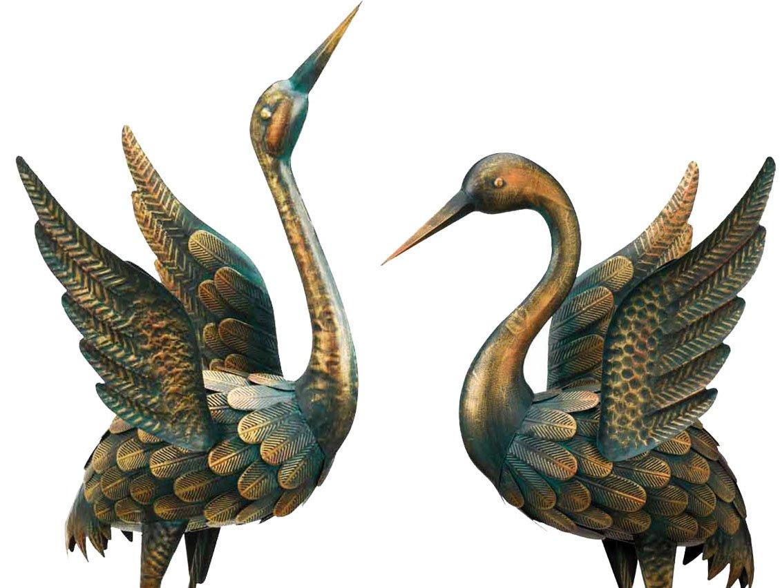 Wonders Shop Outdoor/Indoor Accent Metal Patina Flying Cranes 34'' - 40'' Figurine Statues Bird 2pcs