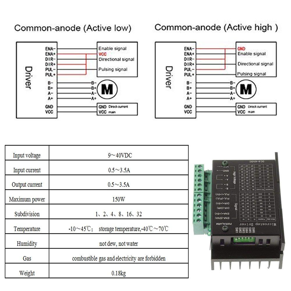 Pilote de moteur pas /à pas CNC MYSWEETY 1.0-4.2A 20-50VDC 1//128 R/ésolutions en micro-/étapes pour moteurs pas /à pas Nema 17 et 23
