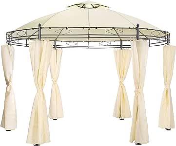 TecTake - Lujosa carpa de eventos redonda para jardín con lonas laterales de 350 cm de diámetro, Creme   no. 402457: Amazon.es: Jardín