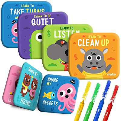 merka Bath Books Baby Bathtub Toys My First Book 4 Flotable Plastic Books Plus 4 Bath Crayons Take Turns Clean Up Listen Be Quiet: Toys & Games