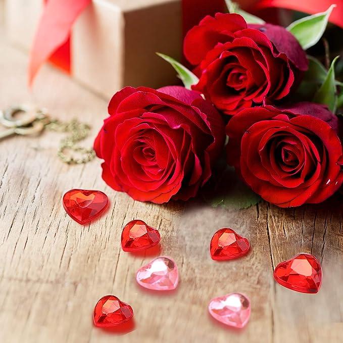 30 rosa-gro/ß-Herz-en-Deko-Steine-Diamanten-f/ür-Hochzeit-Geburtstag-Valentin-Tag-ca.2 cm x 2 cm Tisch-deco-Tau-Tropfen-Glas-Perlen-vom Sachsen Versand