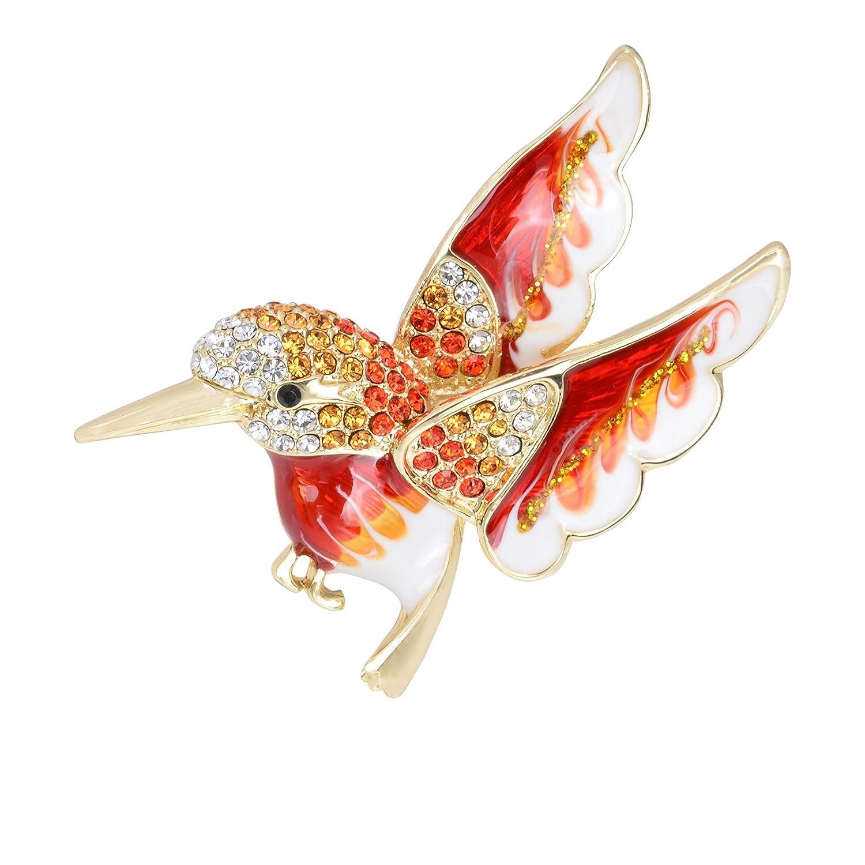 SELOVO Elegant Bird Enamel Hummingbird Brooch Pin Gold Tone Clear Crystal