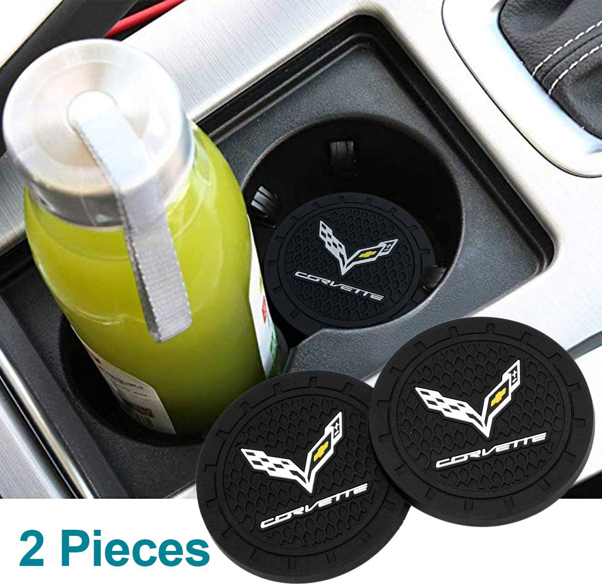 Funsport 2.75 Inch Diameter Oval Tough Car Logo Vehicle Travel Auto Cup Holder Insert Coaster Can 2 Pcs Pack Accessories Fit Mitsubishi