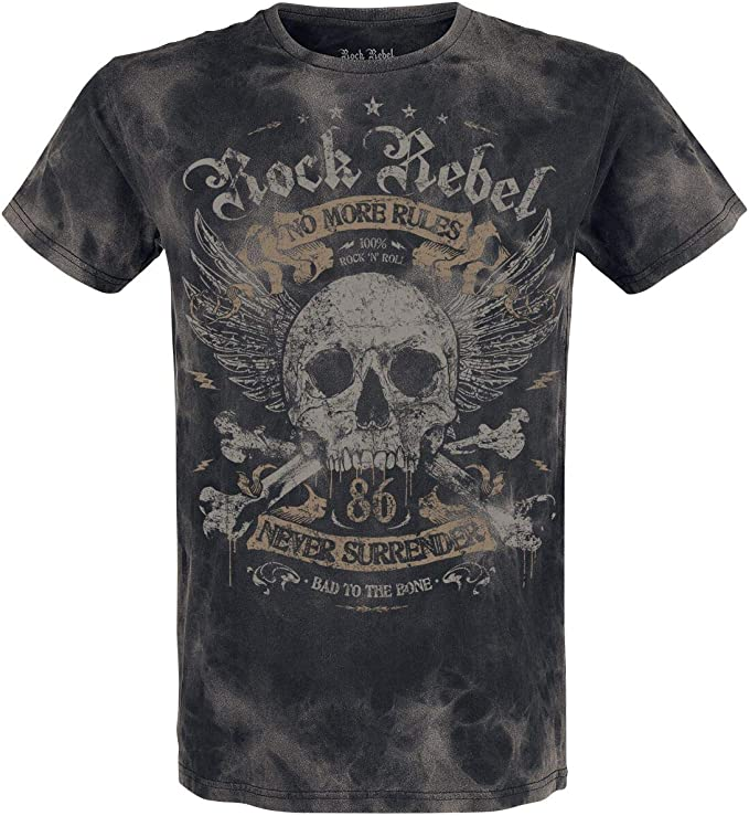 Rock Rebel by EMP Rebel Soul Hombre Camiseta Gris Oscuro, Regular: Amazon.es: Ropa y accesorios