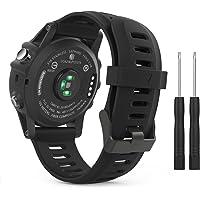 MoKo Bracelet de Remplacement Flexible en Silicone avec des Outils pour Garmin Fenix 3 / Garmin D2 Delta PX/Fenix 3 HR/Fenix 5X/5X Plus(Pas Compatible de Fenix 5), Noir