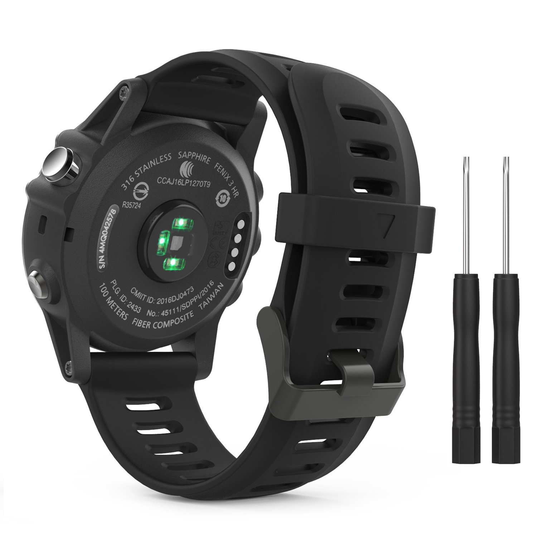 Moko Accessory Band For Garmin Fenix 3 Sport Soft Silicone Replacement Watch Strap For Garmin Fenix 3 Fenix 3 Hr Fenix 5x 5x Plus D2 Delta Px Descent