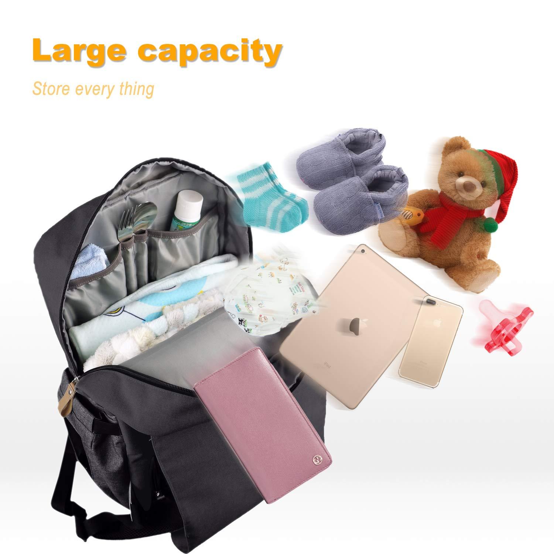 EU1004WG 13 Taschen Ausgezeichnete Wickeltasche Rucksack HapTim Baby Wickelrucksack Wickeltasche Wasserdicht gro/ße Kapazit/ät mit Kinderwagenhaken und 2 Isolierte Taschen for Babyflaschen