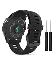MoKo Accessory Band for Garmin Fenix 3, Sport Soft Silicone Replacement Watch Strap for Garmin Fenix 3 / Fenix 3 HR/Fenix 5X / 5X Plus/Descent Mk1 GPS Smart Watch - BLACK