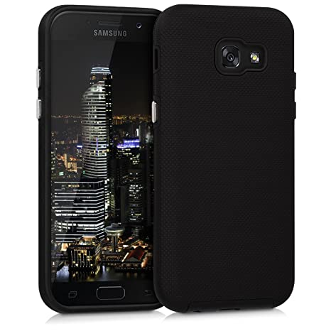 kwmobile Funda para Samsung Galaxy A5 (2017) - Carcasa [híbrida] de [TPU] con diseño de Textura Grip en [Negro]