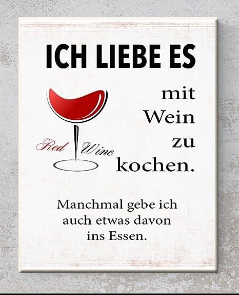 Keramik Schild Ich Liebe Es Mit Wein Zu Kochen Wandbild Mit