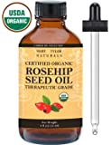 Organic Rosehip Oil 4 oz, USDA Certified by Mary Tylor Naturals, Premium Therapeutic Grade, 100% Pure