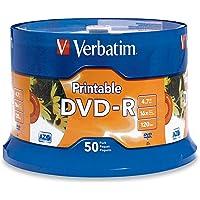 Data Storing Verbatim DVD-R 4.7GB White Inkjet DVDs 50 Pack, (70385)