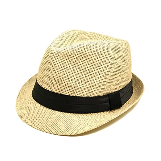 TrendsBlue Classic Natural Fedora Straw Hat 82b72e8b0053