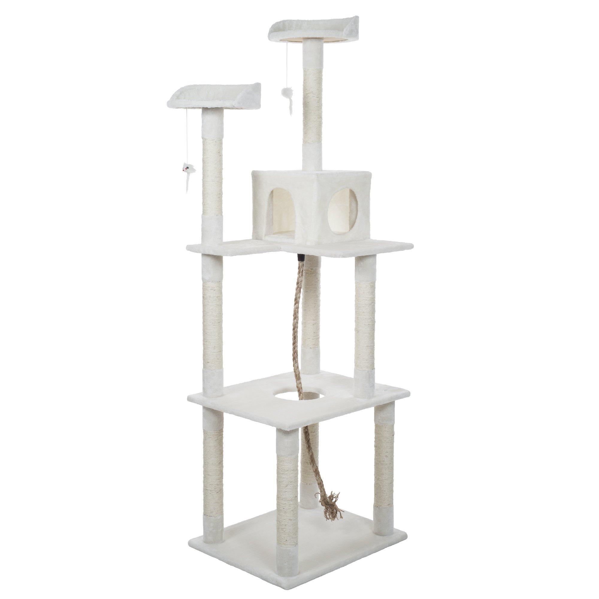 PETMAKER Sleep and Play Cat Toy Tree, 6', Ivory