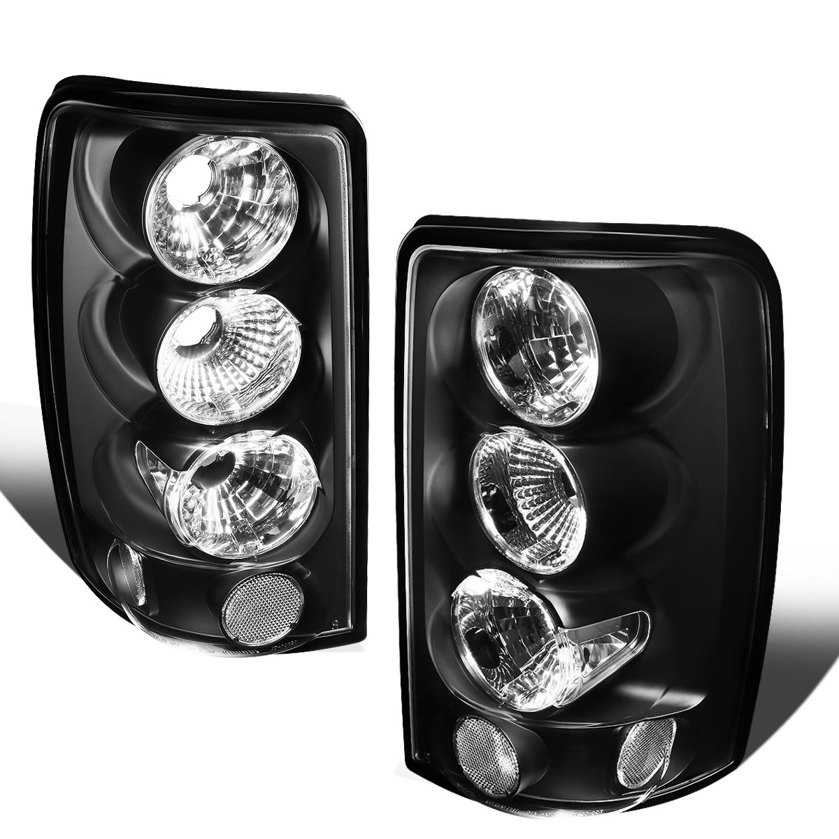 For 2000-2006 GMC Yukon XL/Chevy Tahoe Suburban Pair Black Housing Altezza Style Tail Light Brake Lamps Auto Dynasty