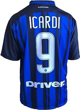 Camiseta de fútbol Inter Icardi, réplica autorizada de la temporada 2017- 2018, para niño (tallas 2, 4, 6, 8, 10 y 12) y adulto (S, M, L y XL) (10 años): Amazon.es: Deportes y aire libre