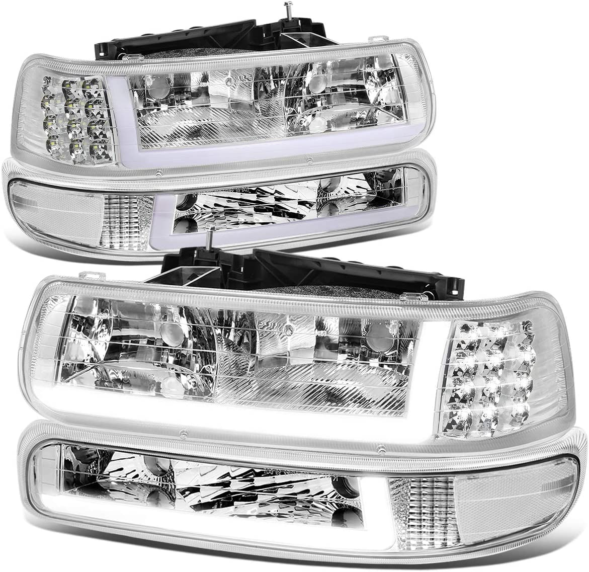 Fit 99-02 Silverado 00-06 Tahoe Suburban Pickup Clear Bumper Lights Signal Lamps