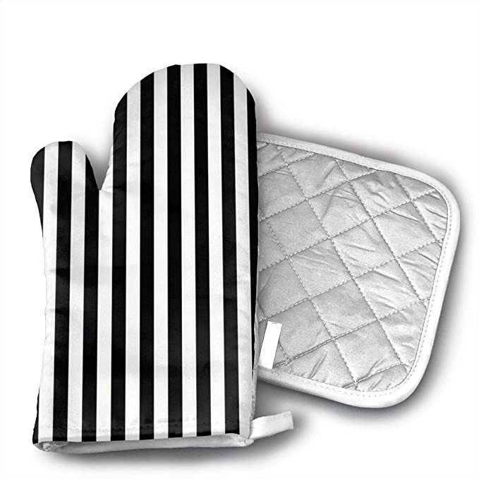 Klasl5 Black and White Mosaic Vertical Stripes Heat Resistant Kitchen Oven Mitt with Non-Slip Printed,for BBQ Cooking Baking, Grilling, Barbecue,Microwave, Machine Washable.