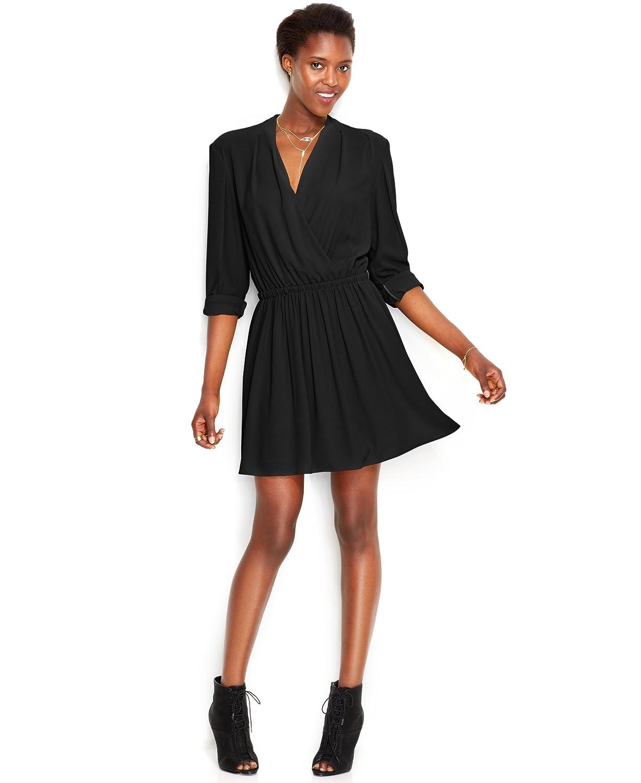 Rachel Rachel Roy Long-Sleeve Faux-Wrap Flared Dress, Black, XS