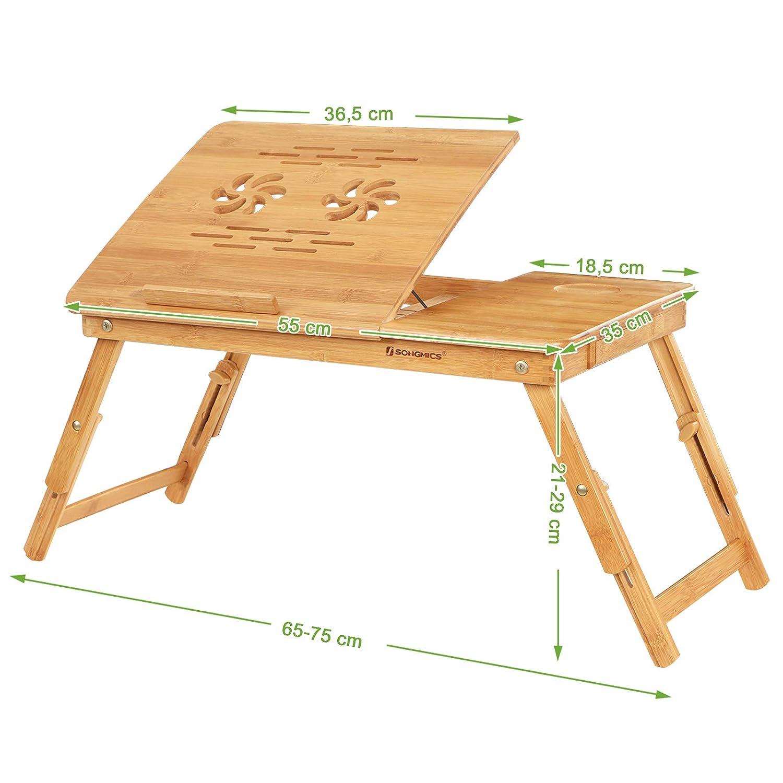 Trous Table BambouAjustablePlateau Ordinateur LitAvec AnglesPetit Lit Sur Au PortableDe Inclinable Pour Déjeuner En Songmics 5 LUzVGSMqp