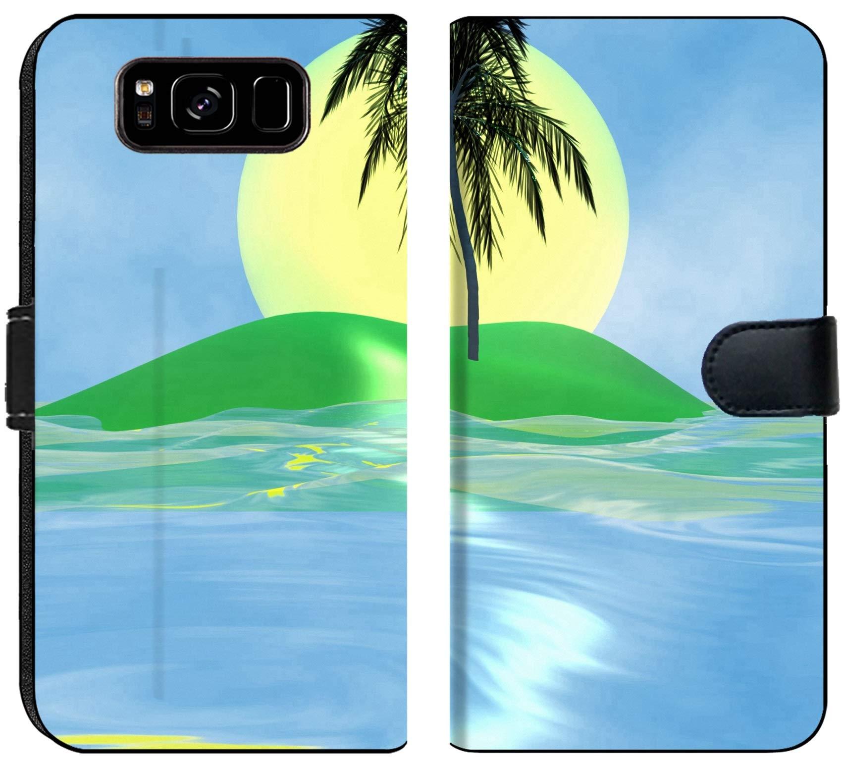Luxlady Samsung Galaxy S8 Flip Fabric Wallet Case Solar Island with a Palm Tree in The Huge Dark Blue sea Image ID 2842537