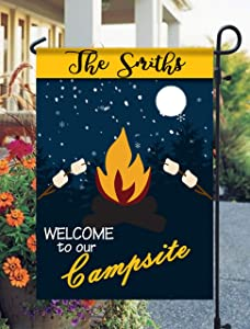 Tow Yus Dala Polyester Garden Flag for House Decor-Campsite Flags Welcome to Our Campfire The S'More The Merrier (2 Sides Print)