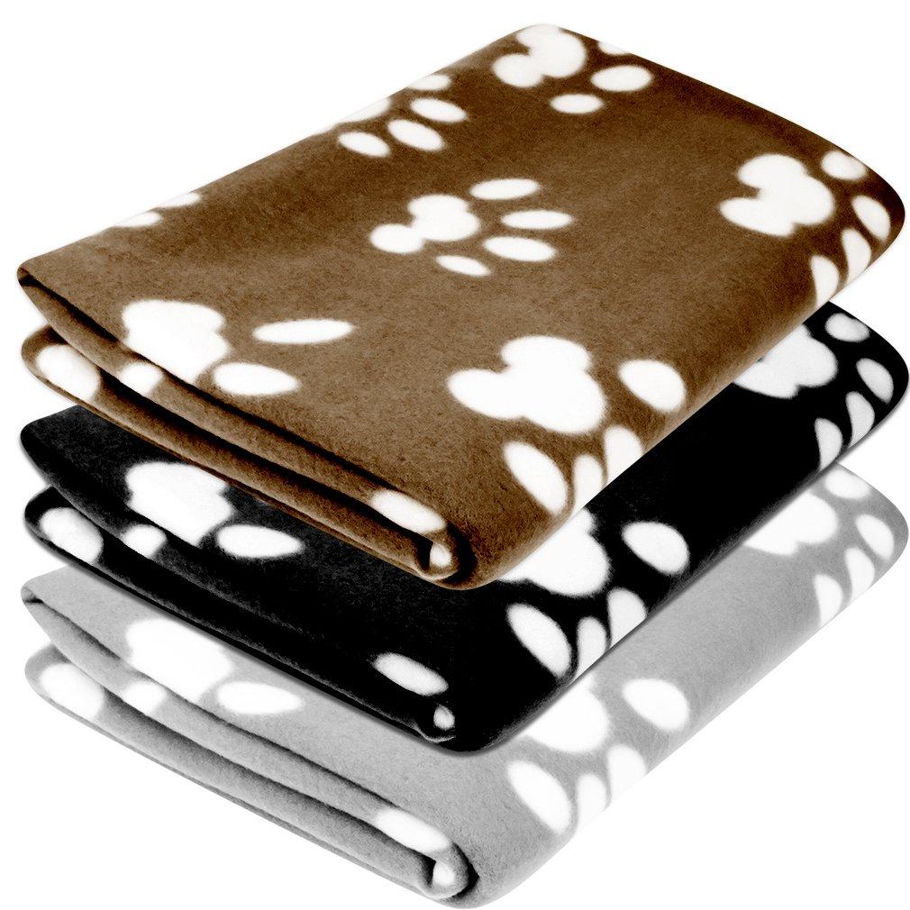 Evelots Set of 3 Fleece Pet Blankets - Black, Coffee, Grey Green Mountain Imports 3430