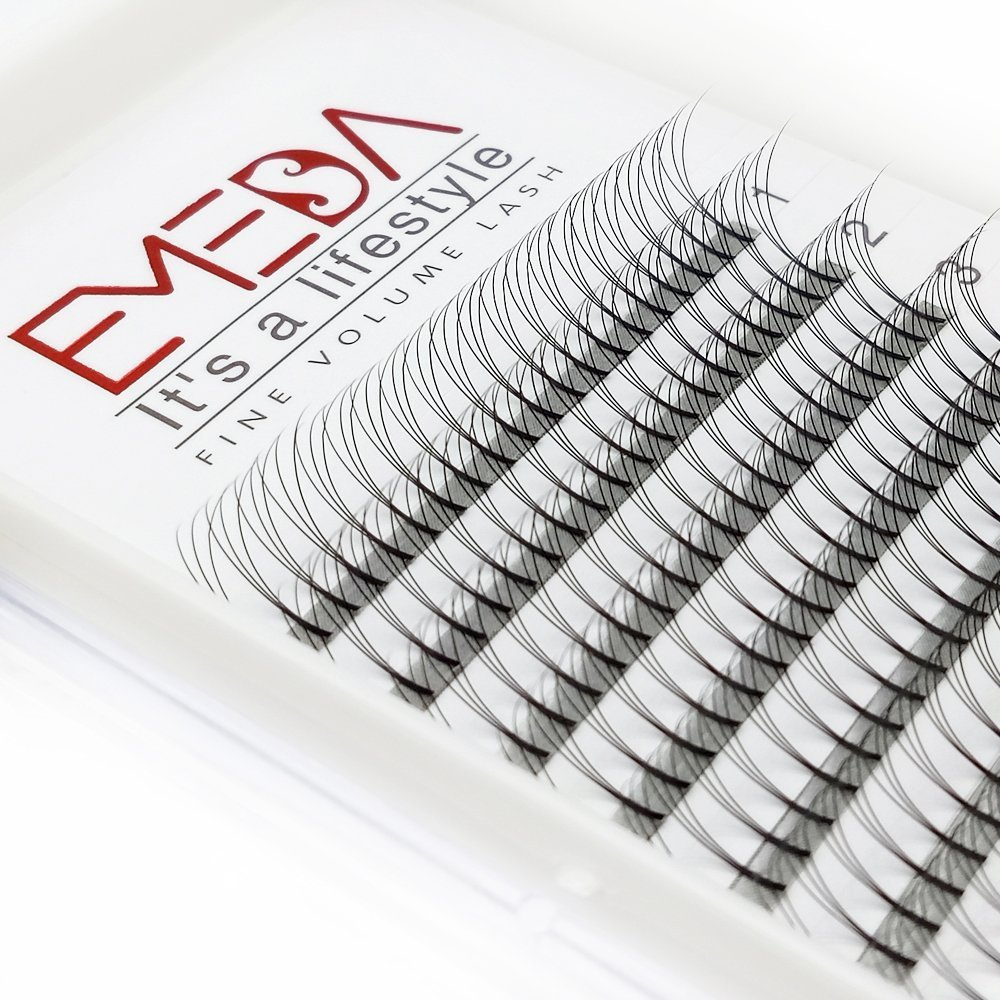 EMEDA 2 Packs D Curl 3D W Volume Eyelashes Individual Cluster Lash Extensions .07 Thickness 12/14MM Eyelashes Extensions Beauty Professional Lashes