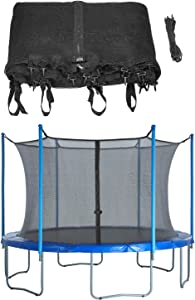 Upper Bounce Trampoline Safety Net for Round Trampoline Using Variant Poles and Arches - Breathable and Weather-Resistant Trampoline Net Replacement with Adjustable Straps