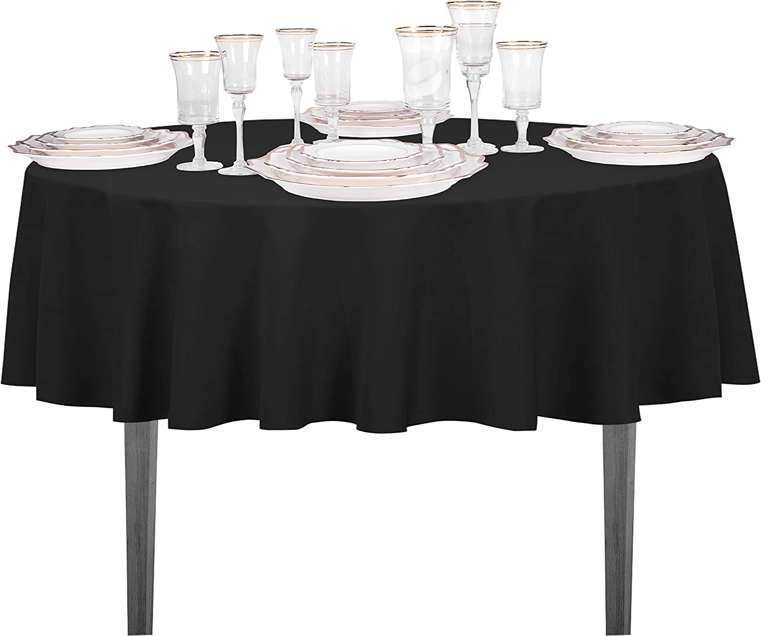 """High Quality Linen Look Tablecloth 100/%Polyester  /""""BLACK/""""  Available 9 sizes."""