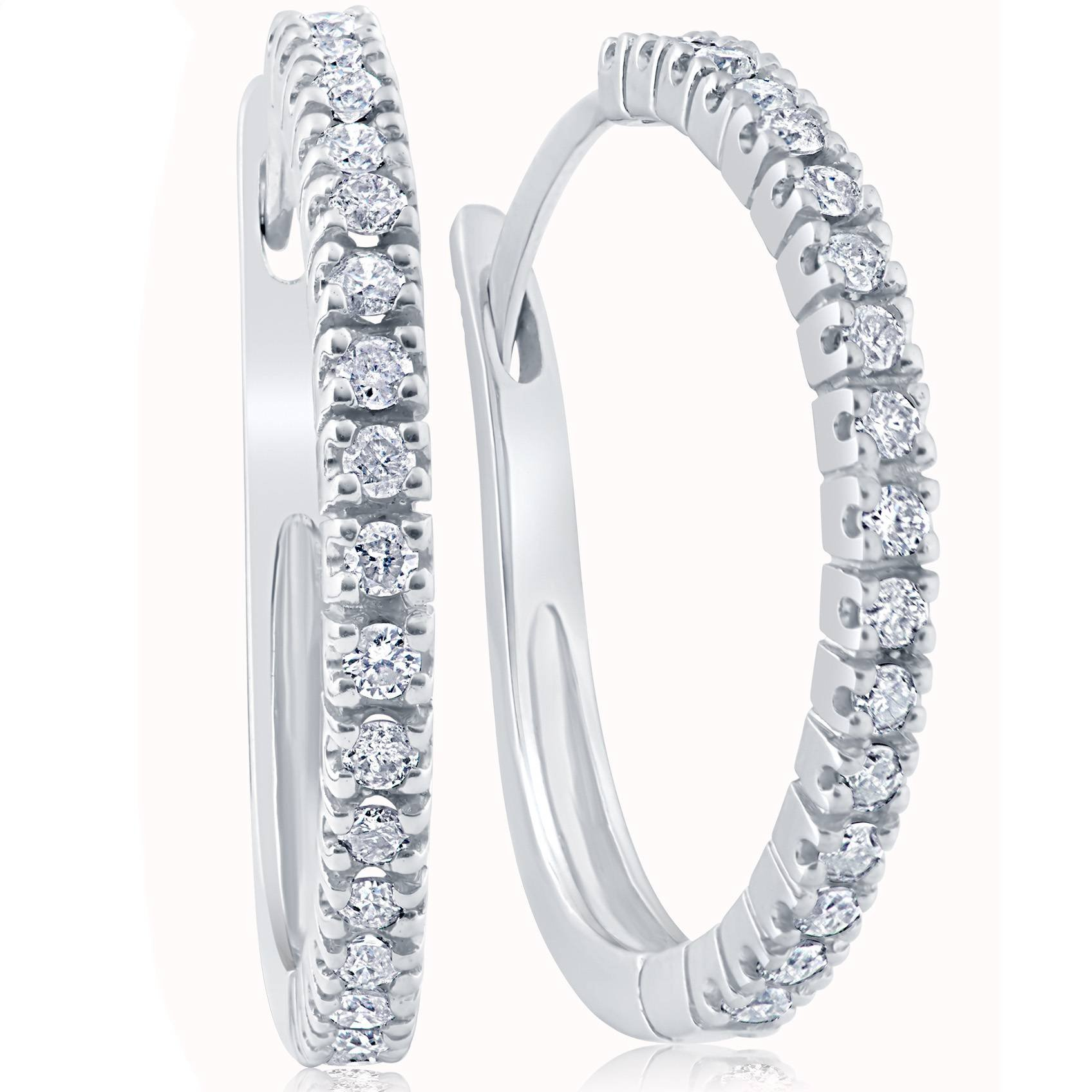 1/2ct Diamond Hoops 10K White Gold by P3 POMPEII3
