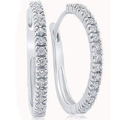 15288b078 Amazon.com: 1/2ct Diamond Hoops 10K White Gold: Stud Earrings: Jewelry