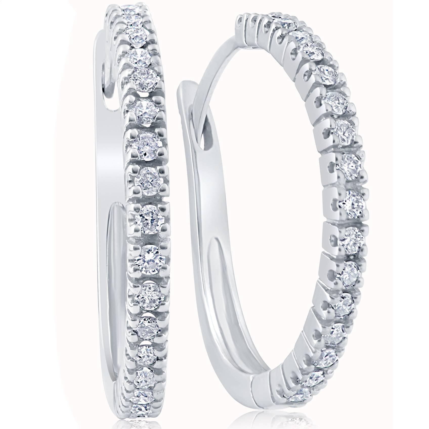 1/2ct Diamond Hoops 10K White Gold
