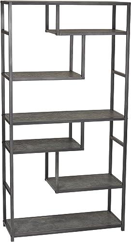 Household Essentials 8090-1 Tall Open Bookcase Geometric Storage Shelves Faux Slate Concrete