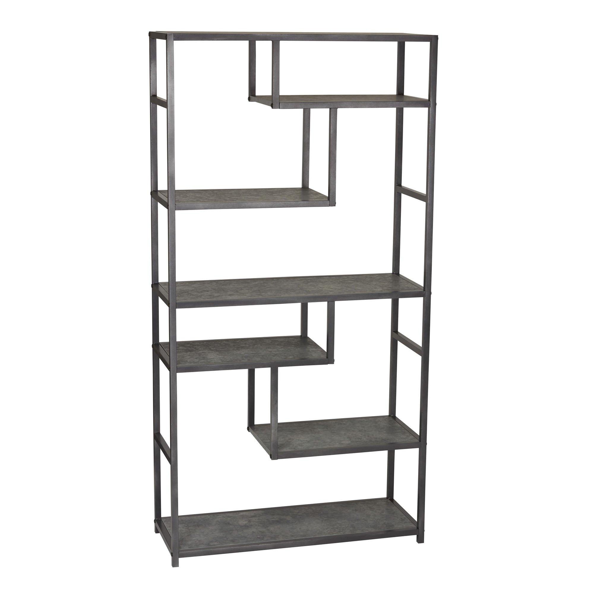 Household Essentials 8090-1 Tall Open Bookcase | Geometric Storage Shelves | Faux Slate Concrete