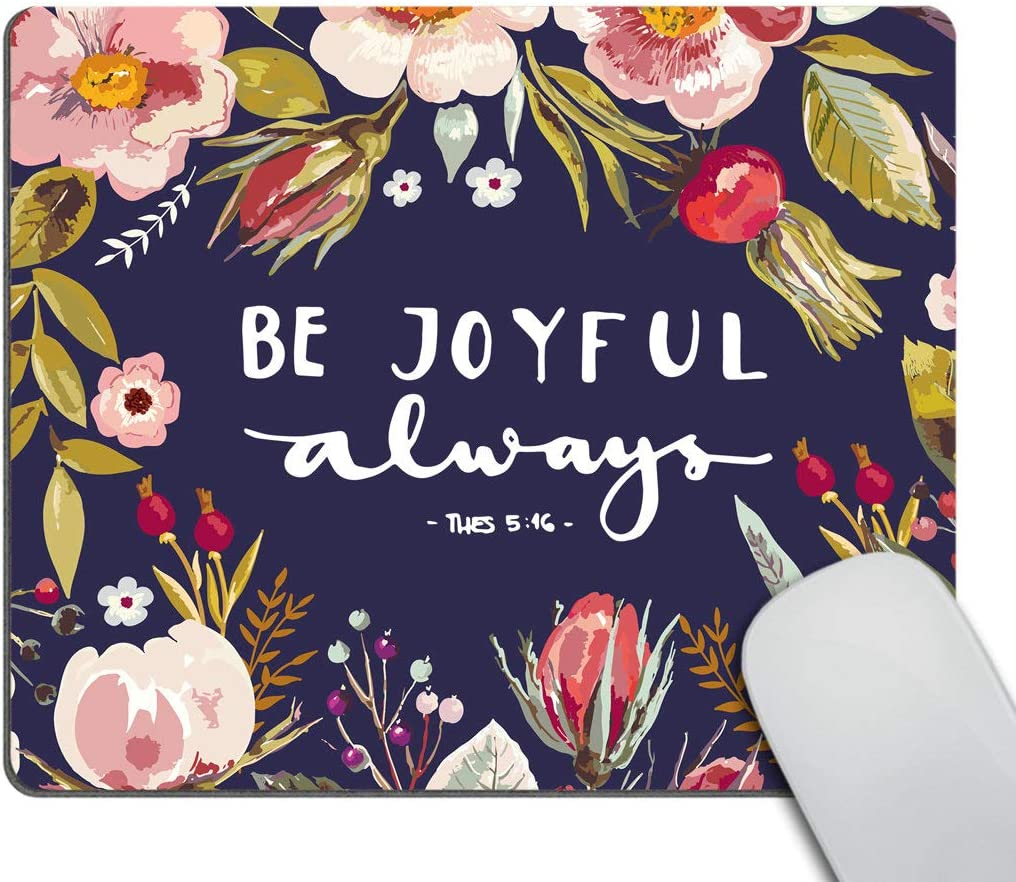 Smooffly Gaming Mousepad Custom,Bible Verses Be Joyful Always Mouse Pad,Christian Mouse Pad for Laptop & Computer 9.5 X 7.9 Inch (240mmX200mmX3mm)
