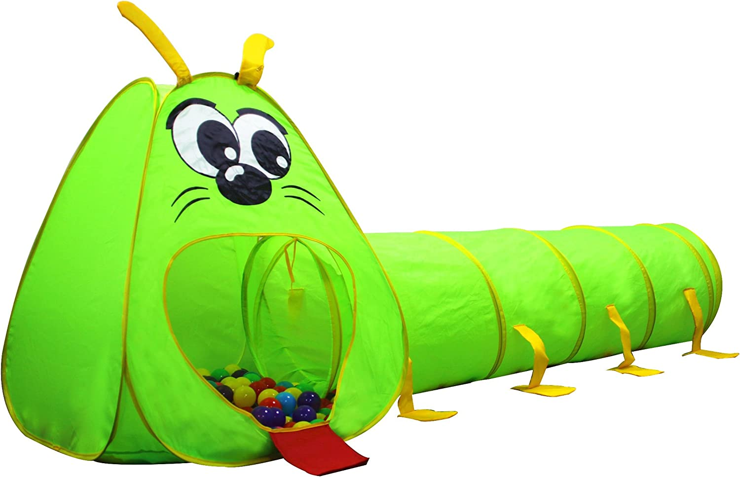 Kiddey Caterpillar Play Tunnel and Tent Combo (2-Piece Set) – Kids Crawling and Exploration Discovery Station for Early Learning and Muscle Development – Indoor/Outdoor Use